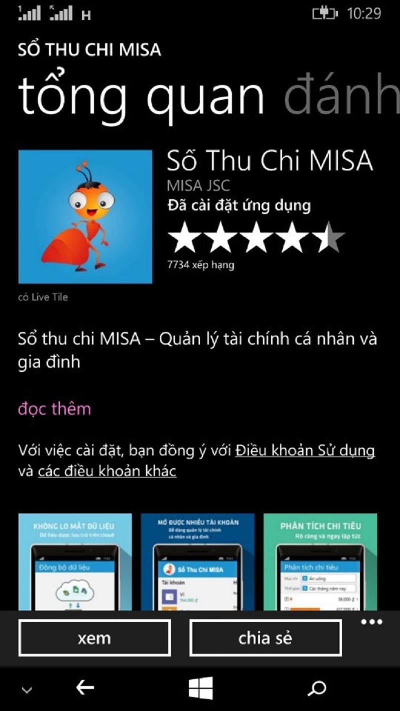 Ứng dụng Sổ thu chi Misa được đánh giá cao trên Store của Windows Phone
