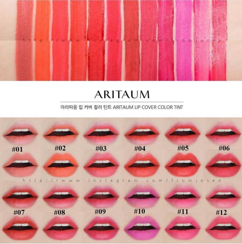 Bảng màu dòng son kem lì Aritaum Lip Cover Color Tint