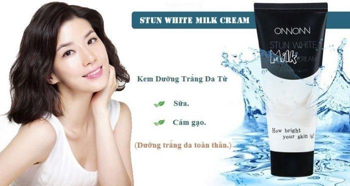 Stun White Milk cream là một loại sữa làm trắng da được chiết xuất từ sữa và cám gạo