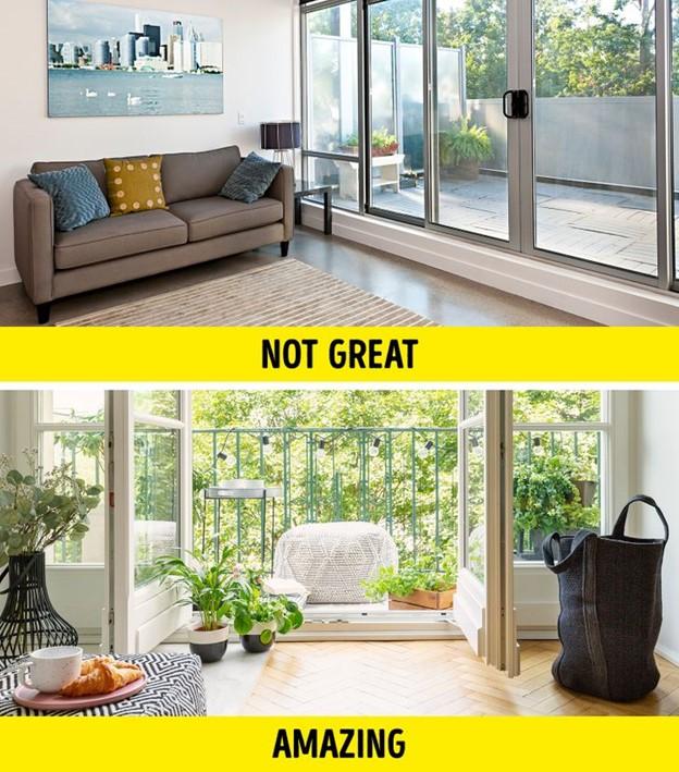 Sử dụng ban công như một phần mở rộng của phòng khách để có thêm không gian
