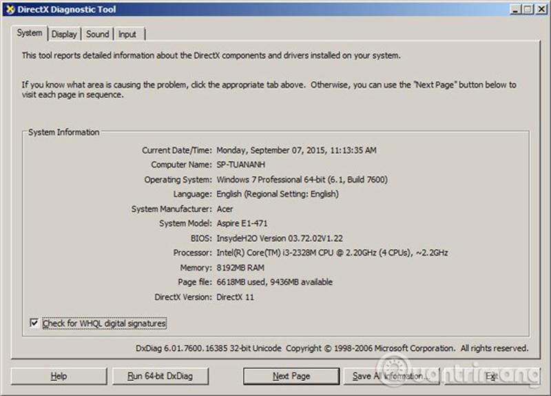 Cửa sổ này cho phép bạn biết các thông tin cơ bản của máy tính như System, Display, Sound và Input
