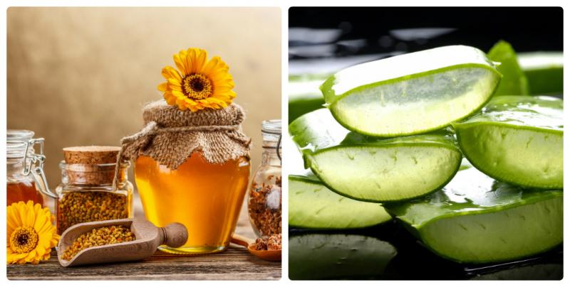 Sử dụng nha đam và mật ong.