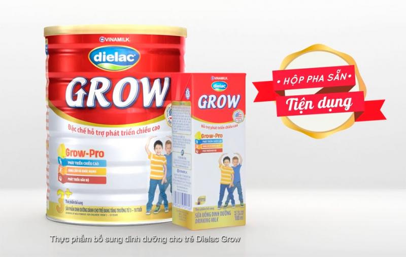 Dielac Grow giúp trẻ phát triển chiều cao tốt hơn.