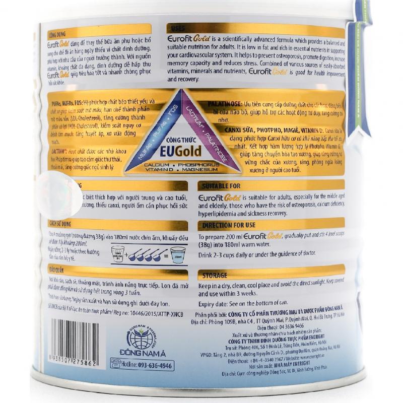 Những thành phần có trong Sữa Eurofit Gold