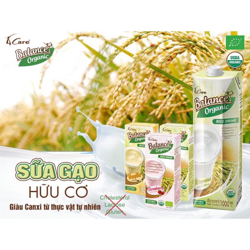 Sữa gạo hữu cơ hương vani 4Care Balance Organic