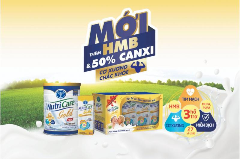 Nutricare Gold - Bổ sung thêm HMB & 50% Canxi giúp cơ xương chắc khỏe