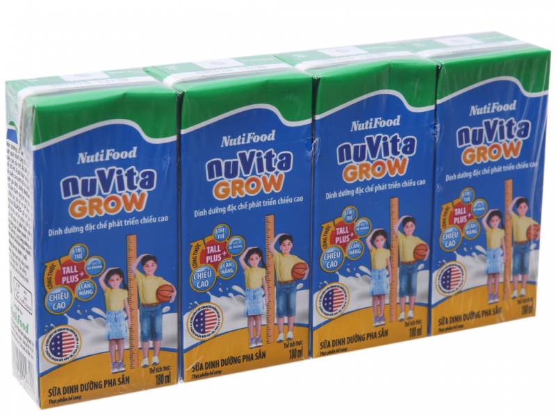 Lốc 4 hộp sữa dinh dưỡng pha sẵn NutiFood Nuvita Grow 180ml