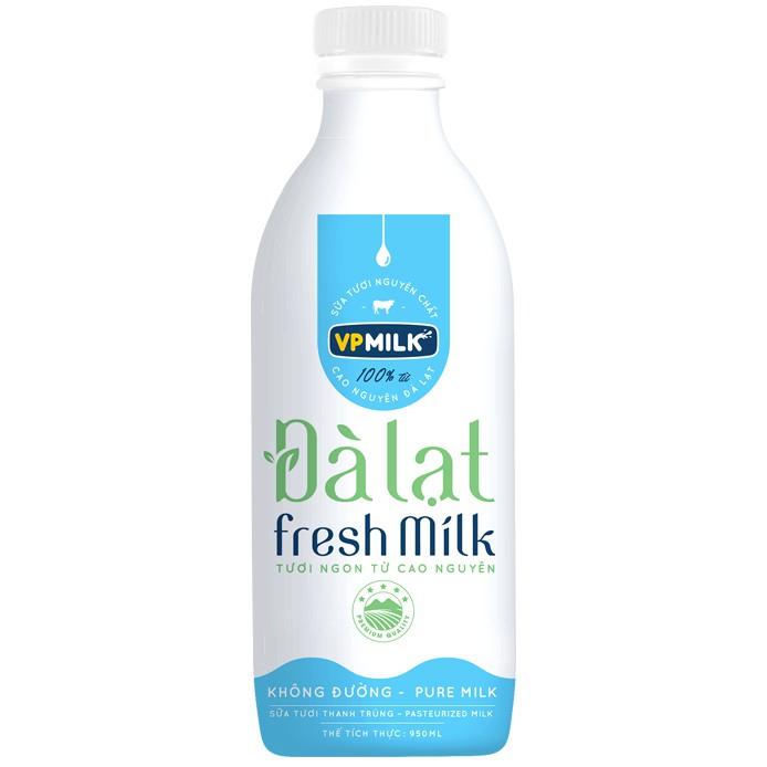 Sữa tươi thanh trùng không đường VPMilk Đà Lạt Fresh Milk chai 950ml