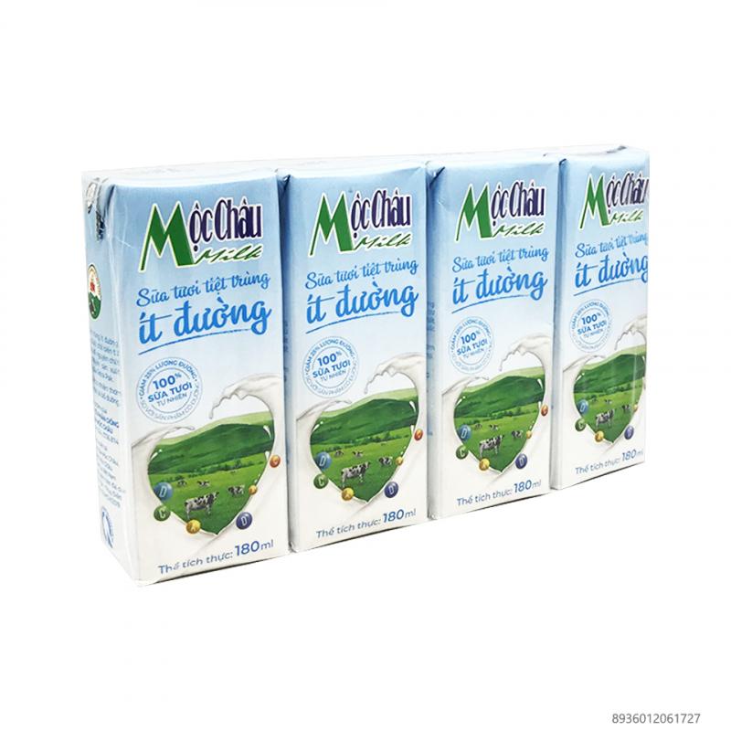 Sữa tươi Tiệt trùng Mộc Châu ít đường 4 hộp 180ml