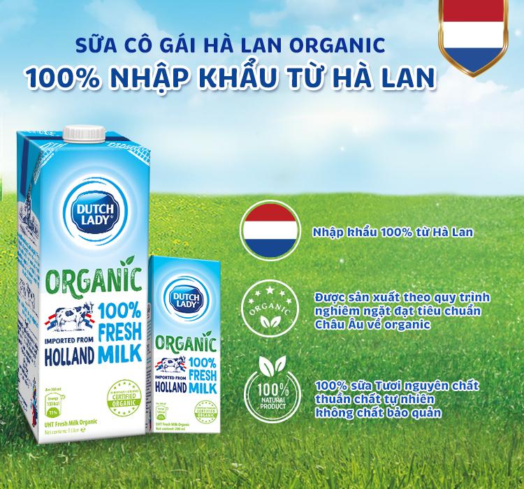 Sữa tươi tiệt trùng organic Cô Gái Hà Lan