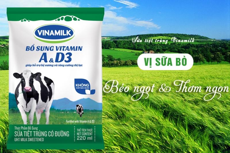 Sữa tươi tiệt trùng Vinamilk dạng túi.