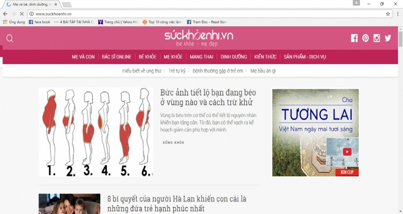 Giao diện website Sức khỏe nhi