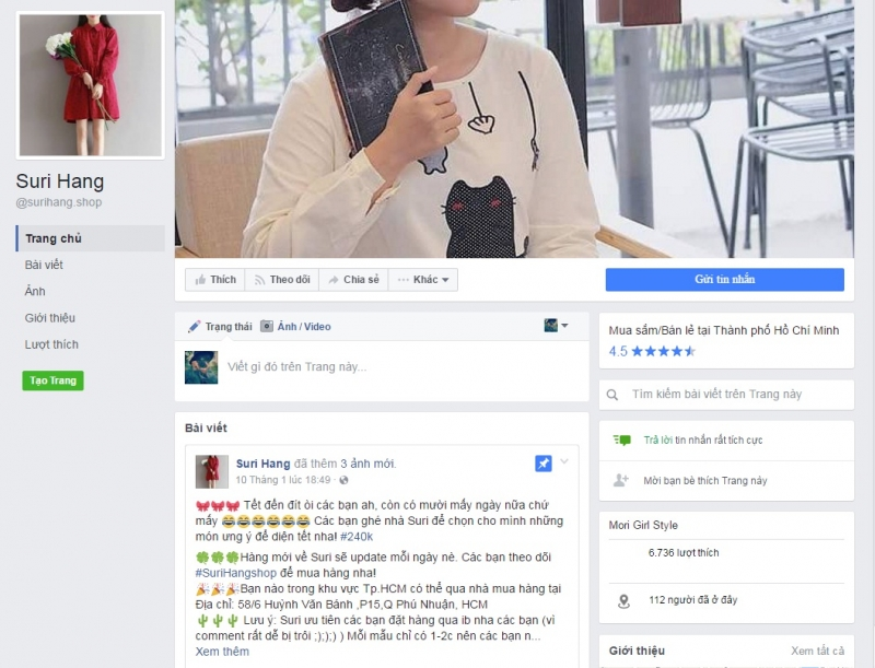 Fanpage của Suri Hang