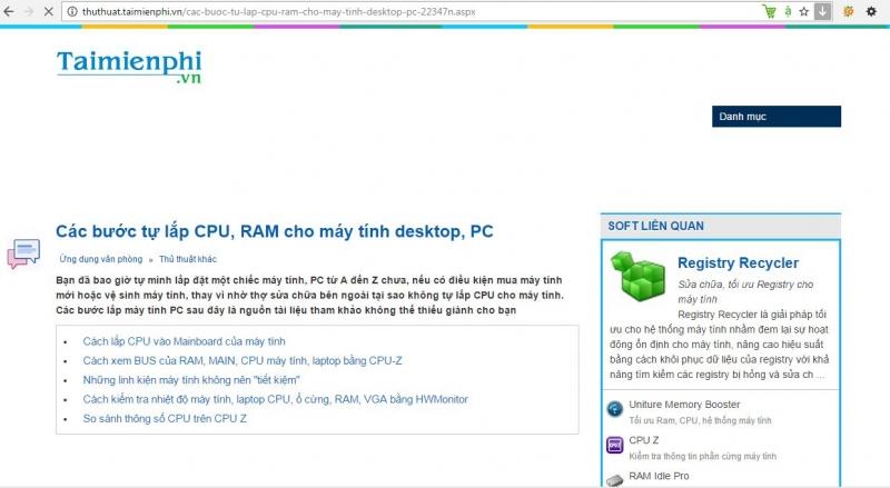 Giao diện trang web taimienphi.vn