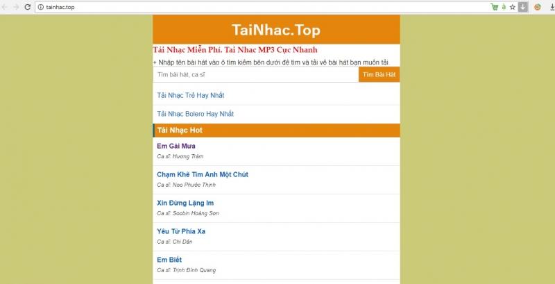 Giao diện trang web TaiNhac.top