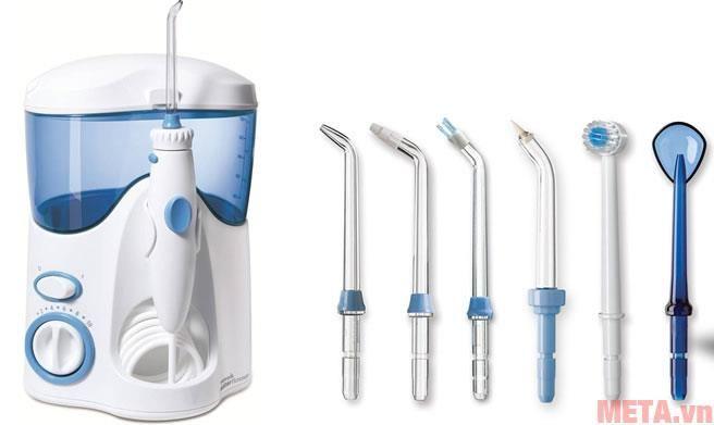 Water Ultra Pik - WP - 100 được đi kèm 7 đầu tip: 2 đầu tổng quát, 1 đầu Pik Pocket, 1 đầu vệ sinh lưỡi, 1 đầu Plaque Seeker, 1 đầu chỉnh nha, 1 đầu bàn chải răng