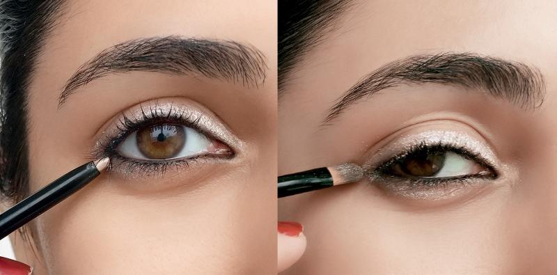 Tạo ombre cho đôi mắt to tròn bằng việc kết hợp eyeliner tông sáng và tối