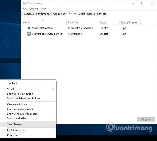 Mở giao diện Task Manager
