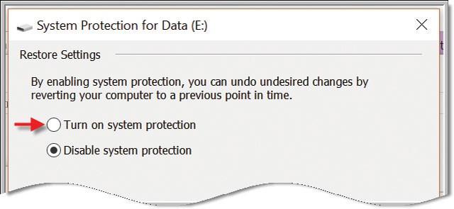 Chọn Disable để tắt chức năng System Restore