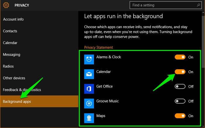 Tắt ứng dụng chạy nền trong Windows 10