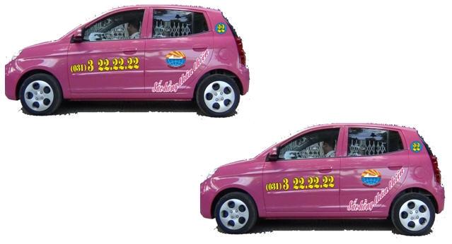 Taxi Hoàng Anh nổi bật với sắc hồng