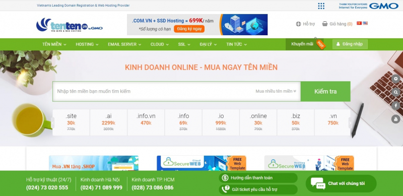 TENTEN là nhà cung cấp dịch vụ tên miền Việt Nam thuộc tập đoàn GMO là đơn vị số 1 Nhật Bản về hosting, tên miền. Điểm nổi bật là dịch vụ hổ trợ rất nhanh và tận tình, cảm kết chất lượng tốt nhất nếu không hài lòng sẽ hoàn trả lại tiền