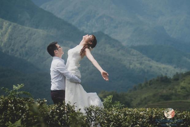Bộ ảnh cưới thơ mộng bên đồi chè trên đường lên thác Bạc