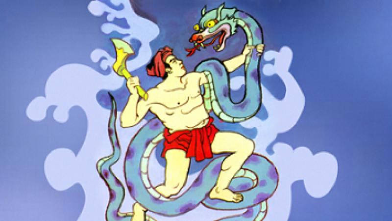 Thạch Sanh chiến đấu với Xà Tinh
