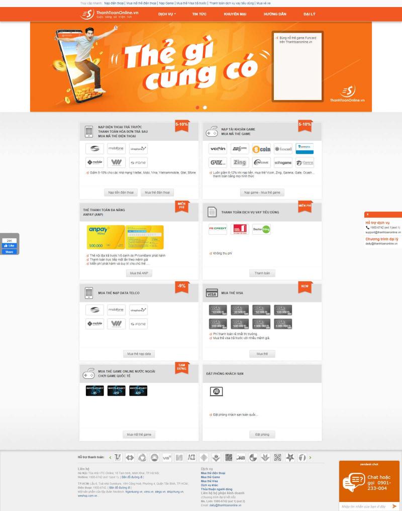Thanhtoanonline.vn là một trong những hệ thống thẻ nạp trực tuyến tốt nhất tại Việt Nam