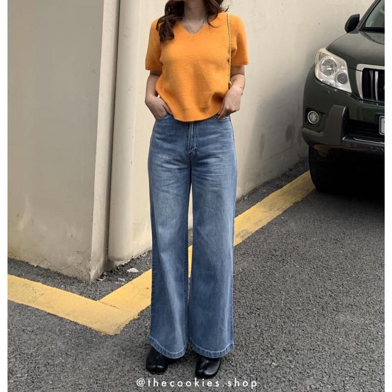 Set quần jeans ống rộng mix áo len form rộng