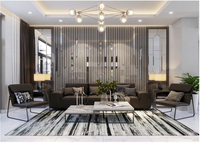 Mẫu thiết kế phòng khách của công trình nhà phố của TheHouseDesign