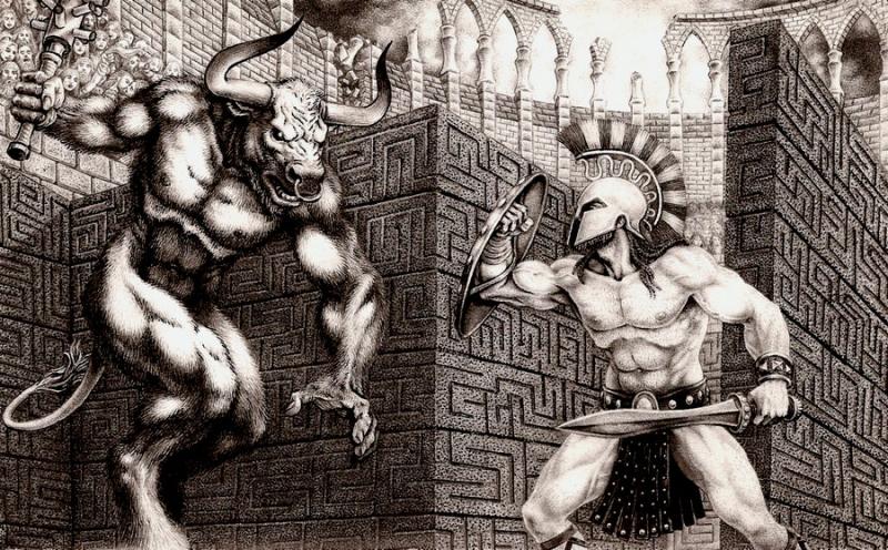 Người anh hùng Theseus đánh nhau với Minotaur