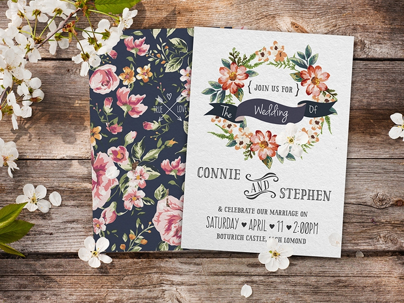 Thiệp cưới hoa lá mang đậm phong cách vintage