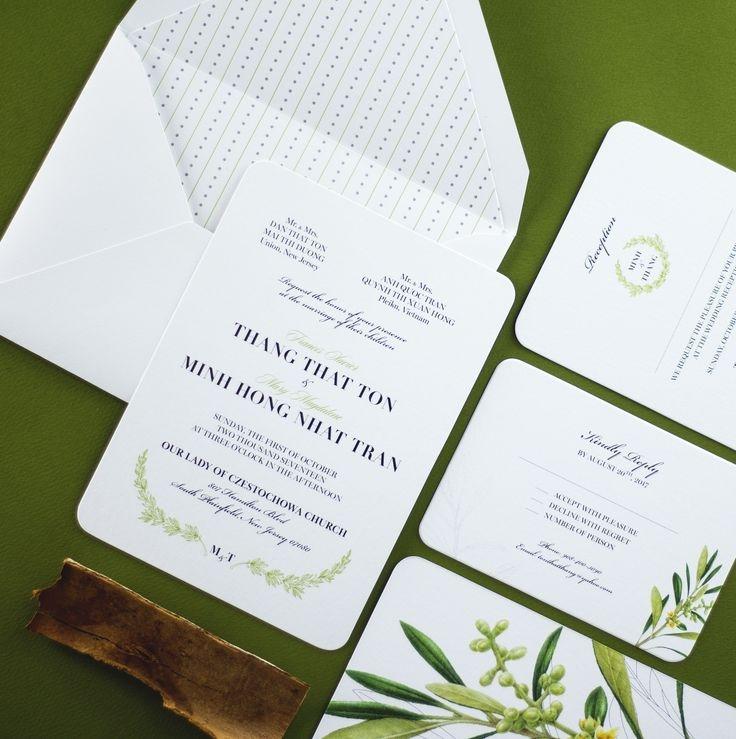 Thiệp cưới mang phong cách cây xanh