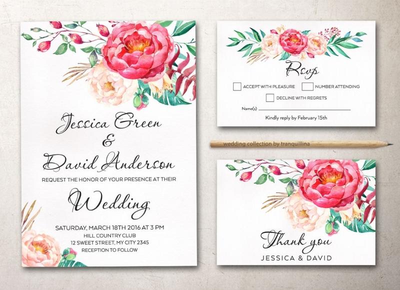 Mẫu in thiệp cưới màu nước cùng họa tiết hoa lá