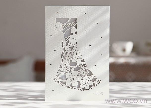 Thiệp cưới họa tiết cô dâu chú rể