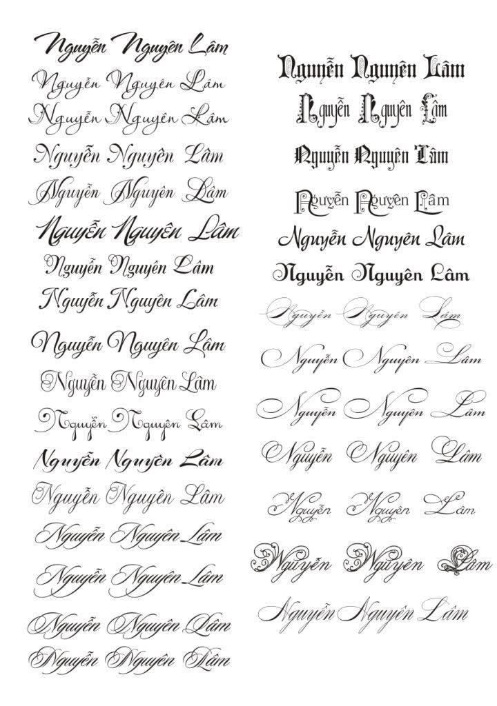 Một số mẫu chữ cho các đôi tình nhân lựa chọn khi muốn tạo ra tấm thiệp bởi chính mình