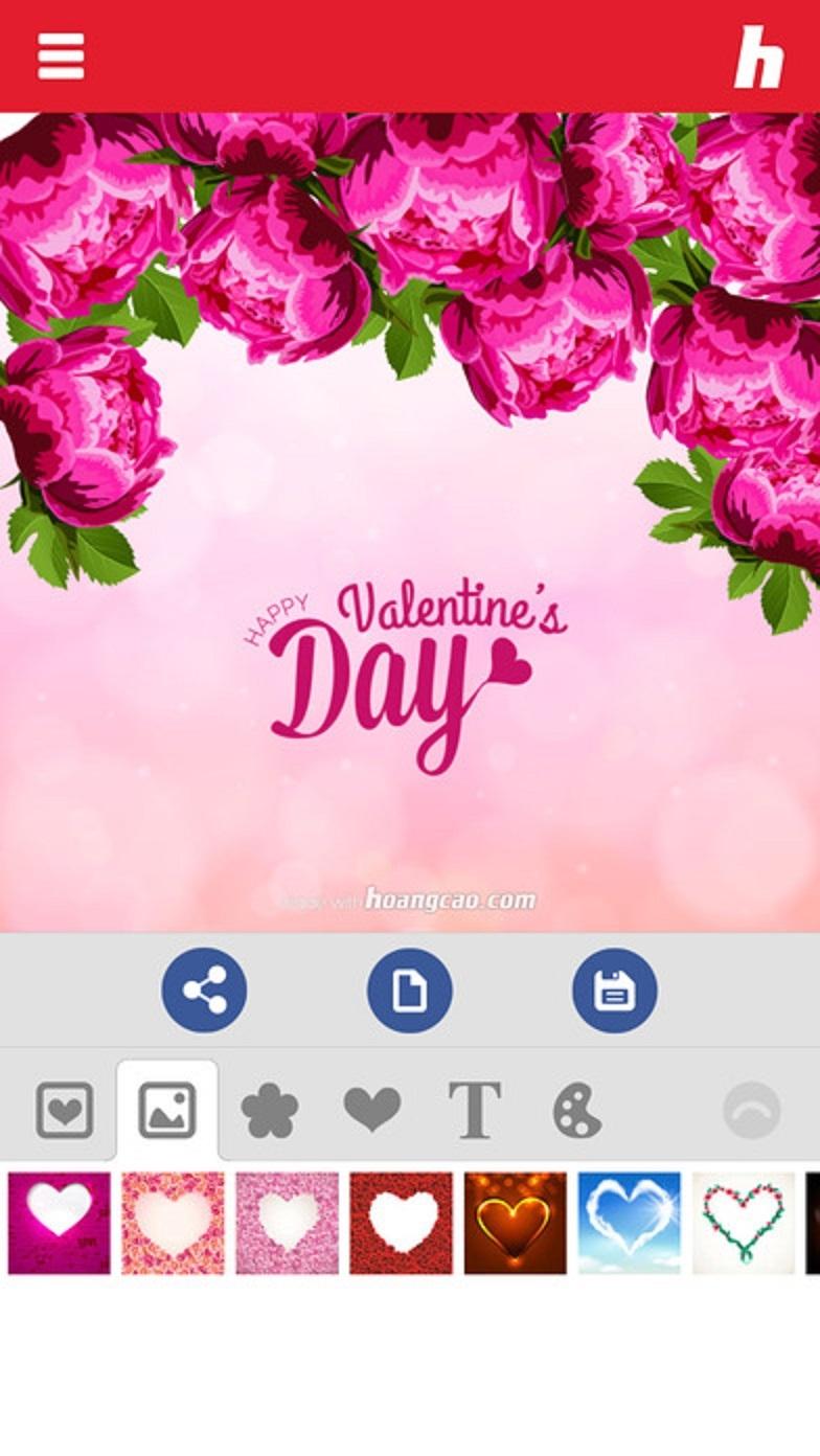 Giao diện của ứng dụng Thiệp Valentine
