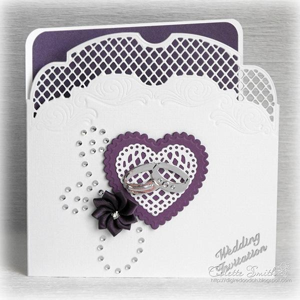 Thiệp cưới pha trắng tím