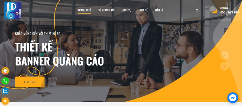 Giao diện website của Thiết kế 6D