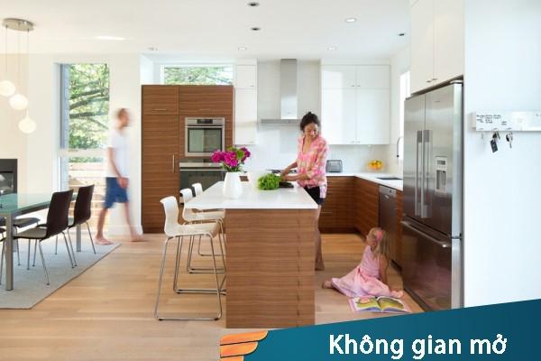Không gian bếp mở kết hợp phòng ăn, phòng khách