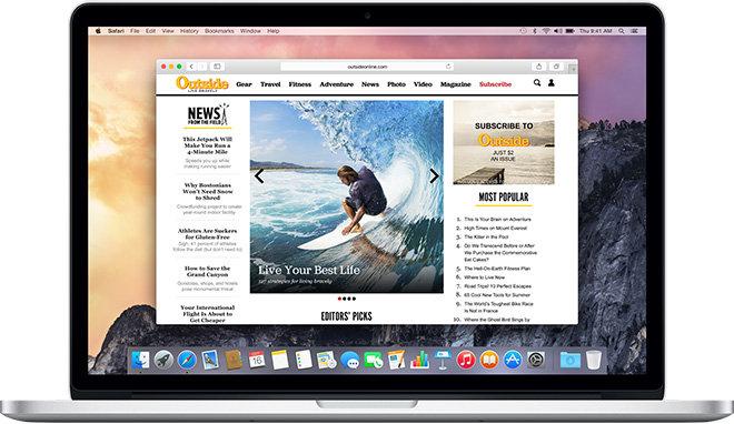 Safari được tối ưu hóa dành cho Macbook
