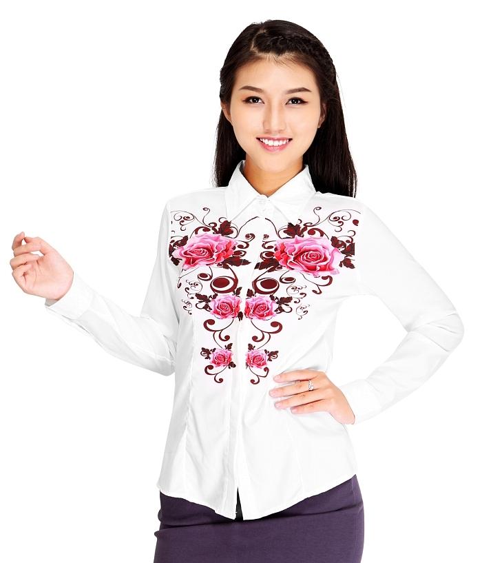 Áo sơ mi nữ trắng họa tiết hoa hồng sành điệu của Zanado