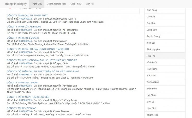 Trang web Thongtincongty