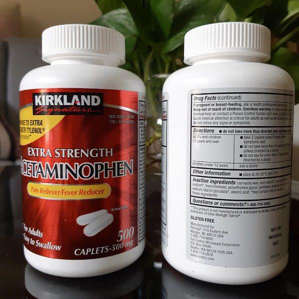 Thực phẩm chức năng Thuốc giảm đau Kirkland Extra Strength Acetaminophen 500mg