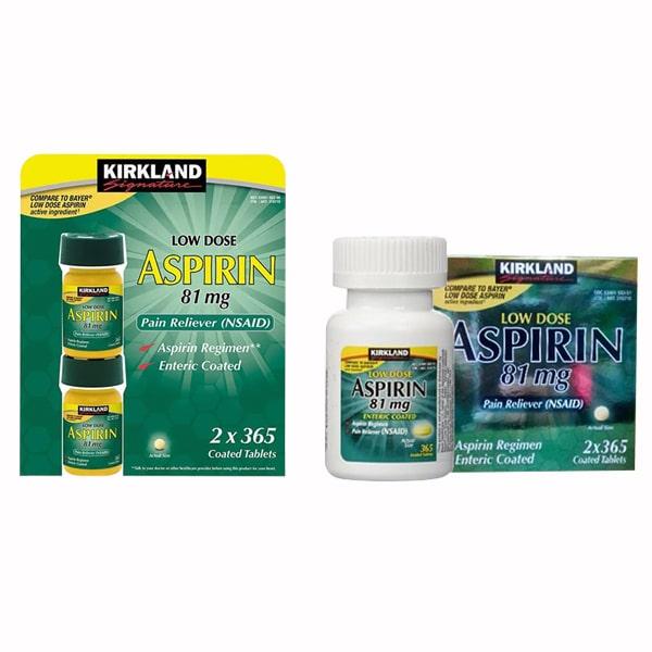 Thực phẩm chức năng Viên uống giảm đau Kirkland Low Dose Aspirin của Mỹ 2x365 viên
