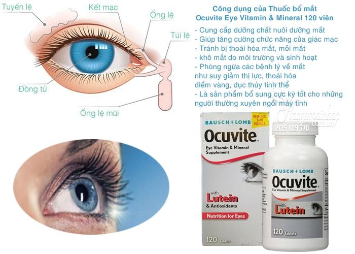 Thuốc bổ mắt Ocuvite Eye Vitamin & Mineral with Lutein hỗ trợ lọc ánh sáng xanh có hại cho mắt, giảm thiểu tác động của môi trường đến mắt.