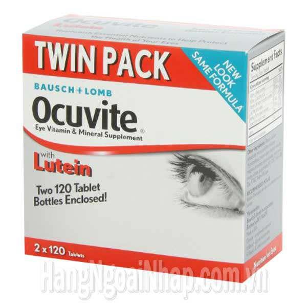 Thực phẩm chức năng Thuốc Bổ Mắt Bausch Lomb Ocuvite Twin Pack Với Lutein, Vitamin: