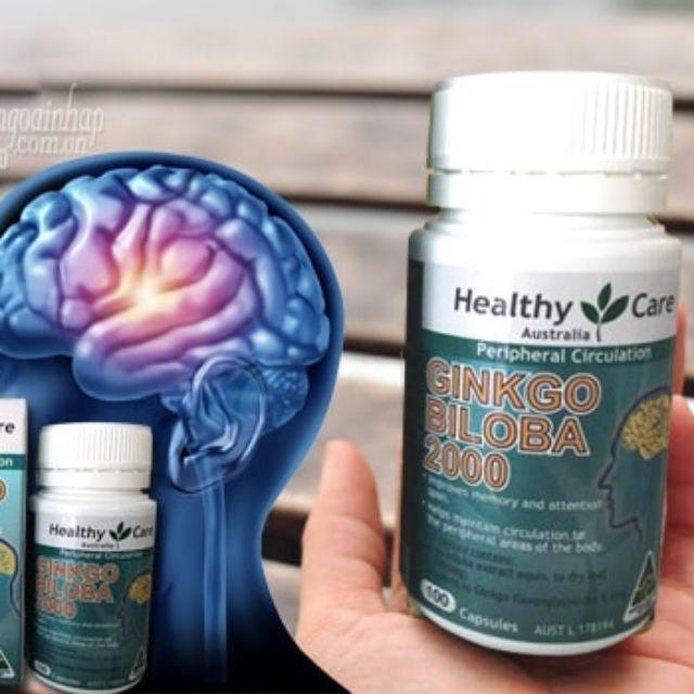 Thuốc bổ não Healthy Care Ginkgo Biloba 2000mg được chiết xuất từ cây bạch quả - đã được nghiên cứu và chứng minh là có chứa dưỡng chất đặc biệt cần thiết để duy trì và nuôi dưỡng bộ não hoạt động tốt
