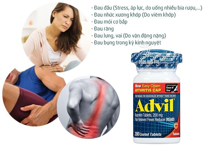 Advil 200mg chấm dứt những cơn đau dai dẳng ảnh hưởng đến sức khỏe và tinh thần của bạn, giúp tinh thần thoải mái, phấn chấn hơn để tiếp tục công việc và sinh hoạt bình thường.